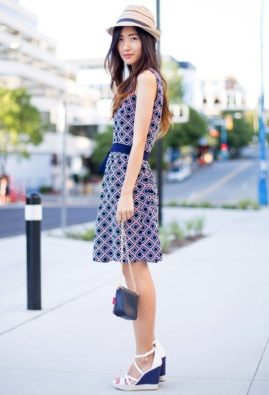 Printed Dress Outfit with Wedges