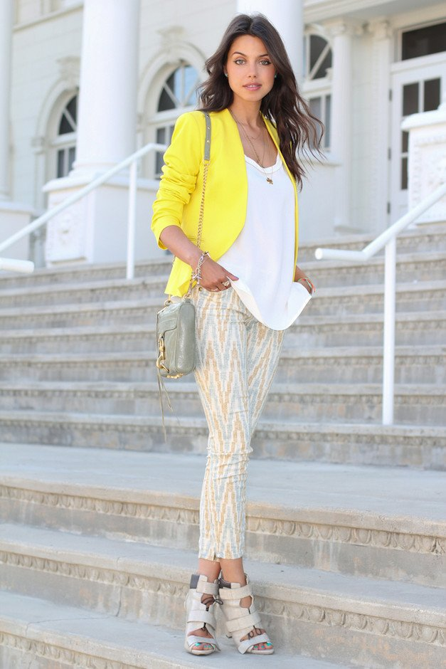 Printed Pants Outfit Idea with Yellow Blazer