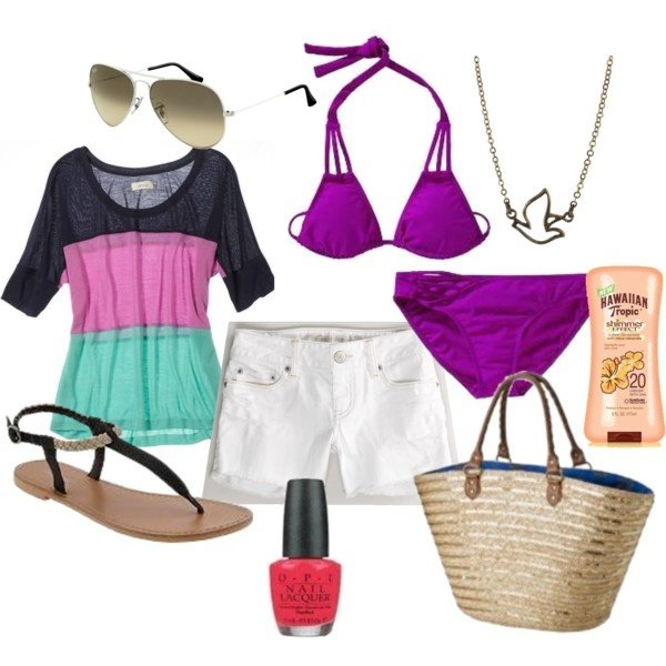 Purple Beach Polyvore Combination