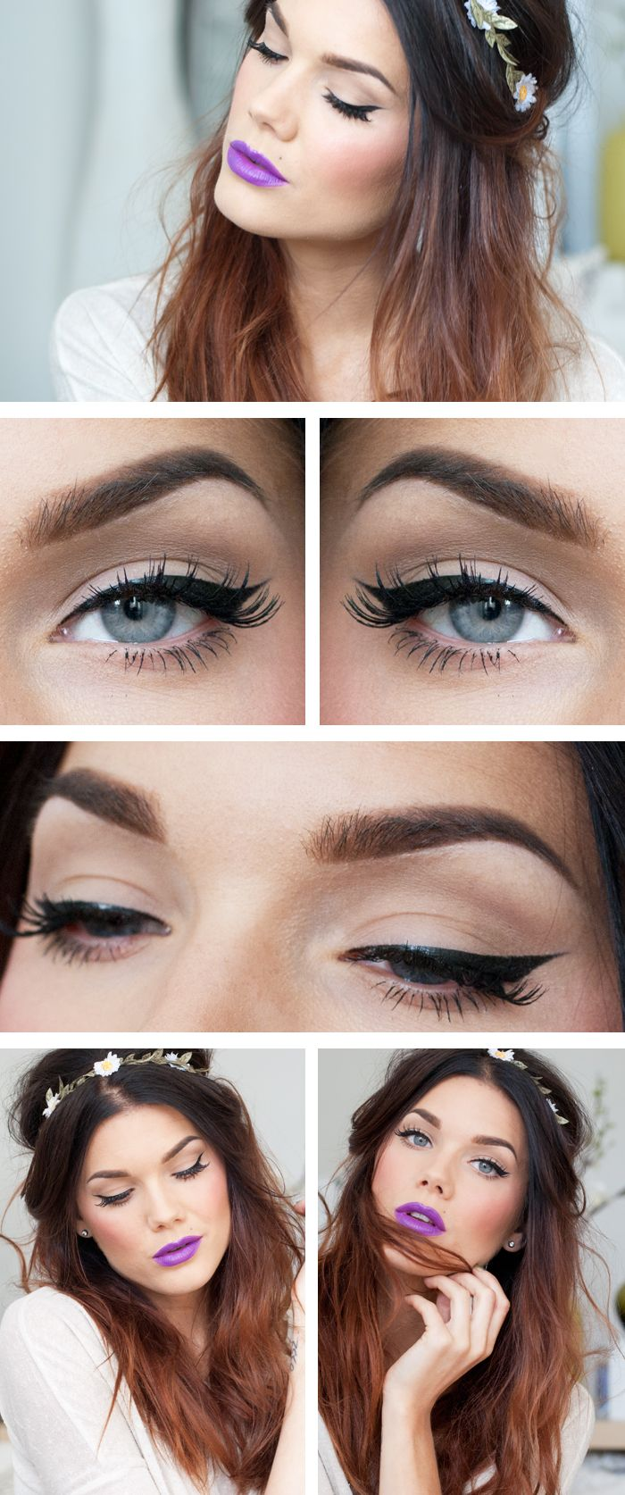 Purple Lips Makeup With Wing Liner