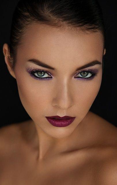 Purple Lips and Glittery Eyes