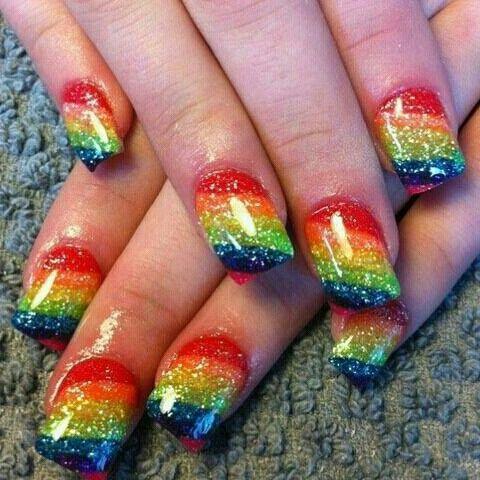 Rainbow Gel Nails