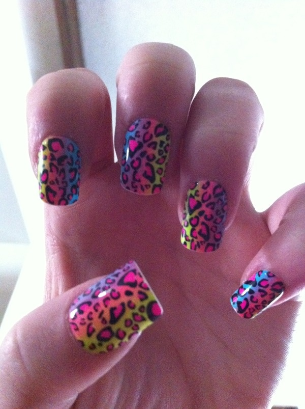 Rainbow Nails with Leopard Print