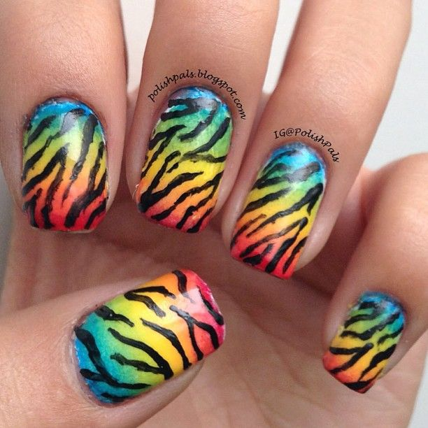 Rainbow Nails with Zebra Print