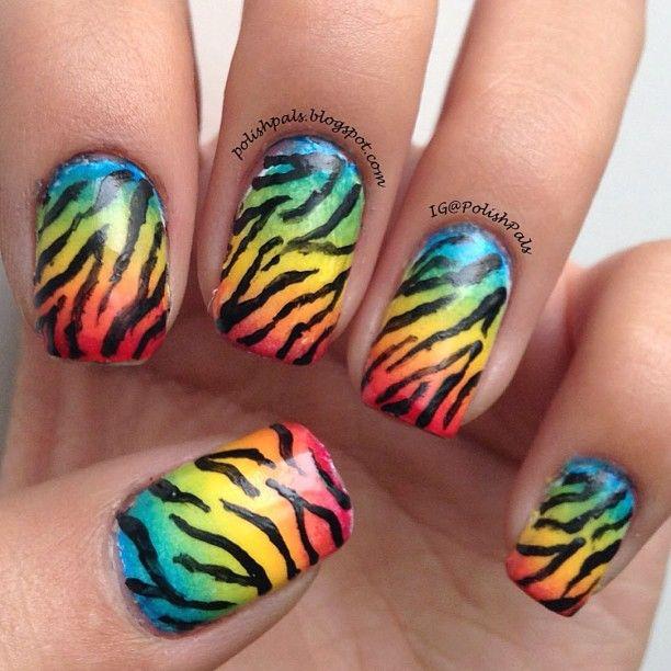 Rainbow Nails with Zebra Print