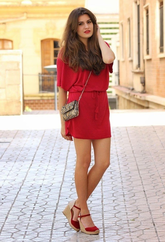 Red Dress and Wedges