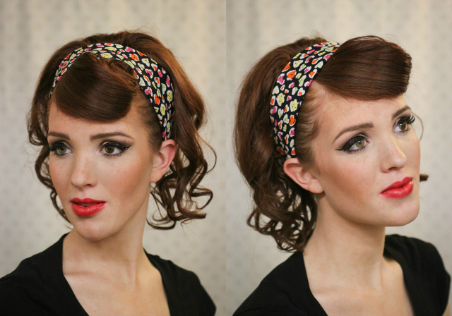 Retro Hairstyle with Floral Headband