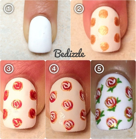 Rose Nails with Glitter via White Nails with Flower Paint via