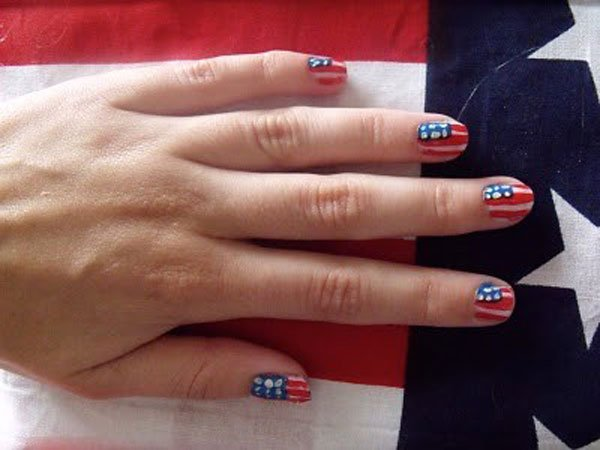 Sequined American Flag Inspired Nail Design