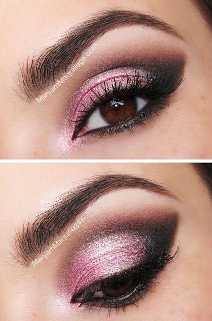 Shimmery Pink Smokey Eye Makeup