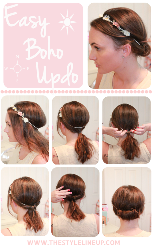 Simple Boho Updo Hairstyle Tutorial via
