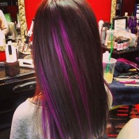 Straight Hair with Purple Highlights