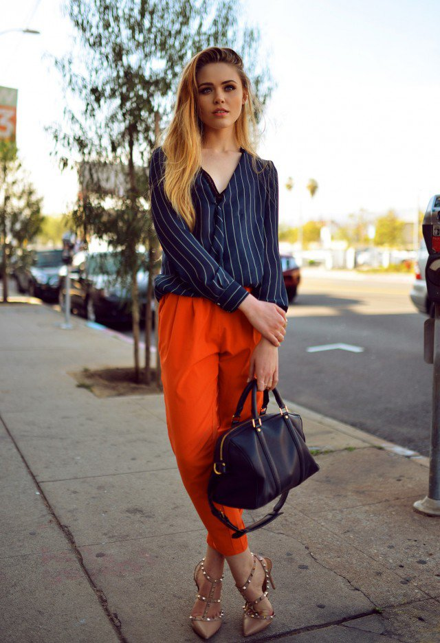 Stripe Blouse and Orange Pants