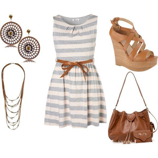 Stripe Dress Outfit Idea with Wedge Sandals