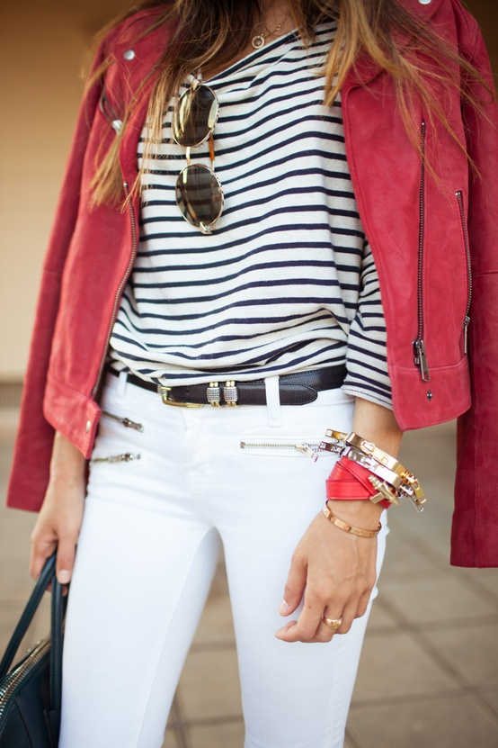 Stripe Outfit Idea with Red Jacket