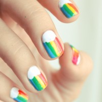 Stripe Rainbow Nails