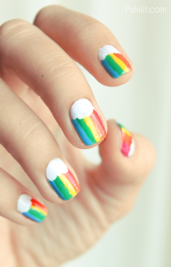 Stripe Rainbow Nails