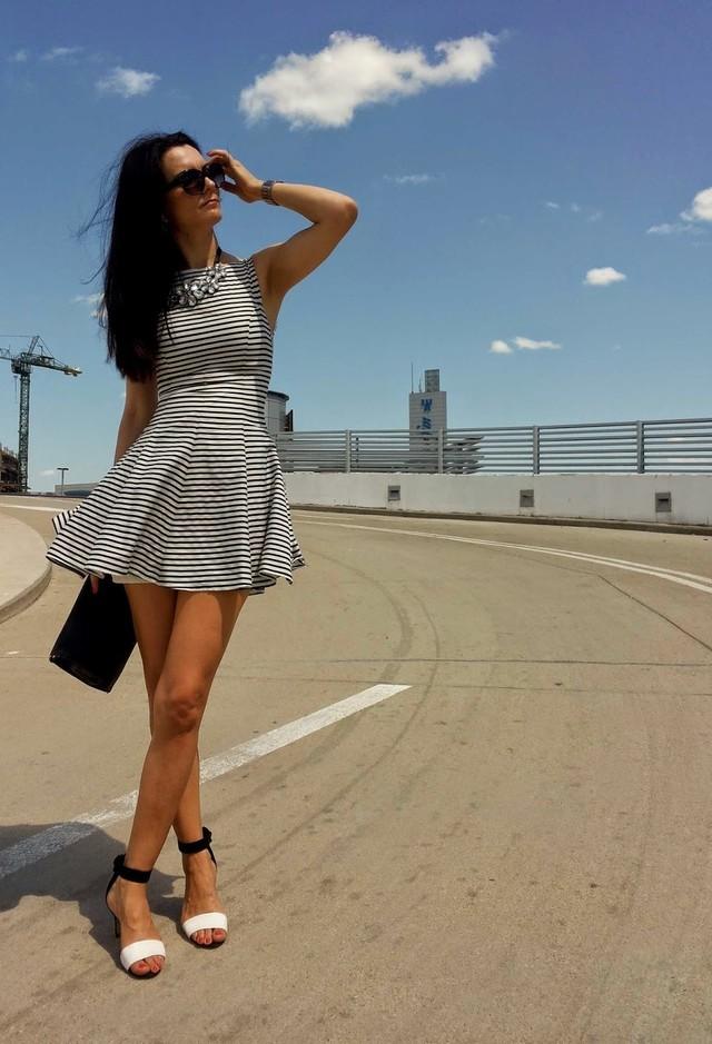 Stripe Short Dress for Date