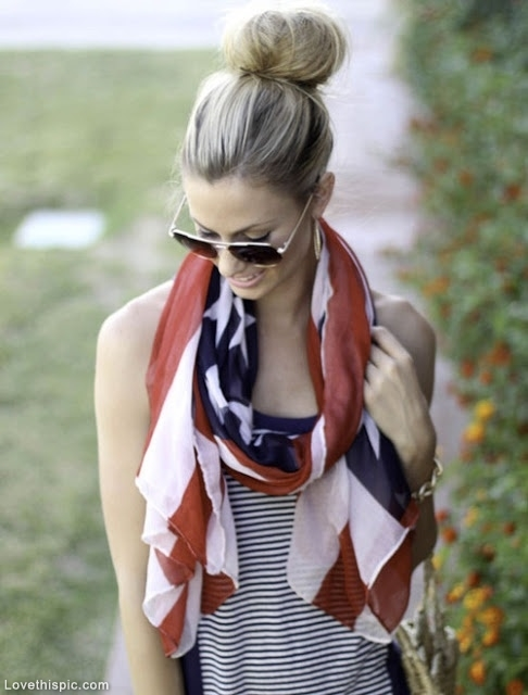 Stripe Tops with Flag Scarf