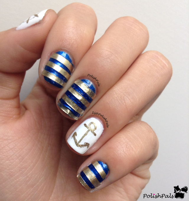 14 refreshing nautical nail art designs for 2014 pretty designs striped nautical nail art prinsesfo Gallery