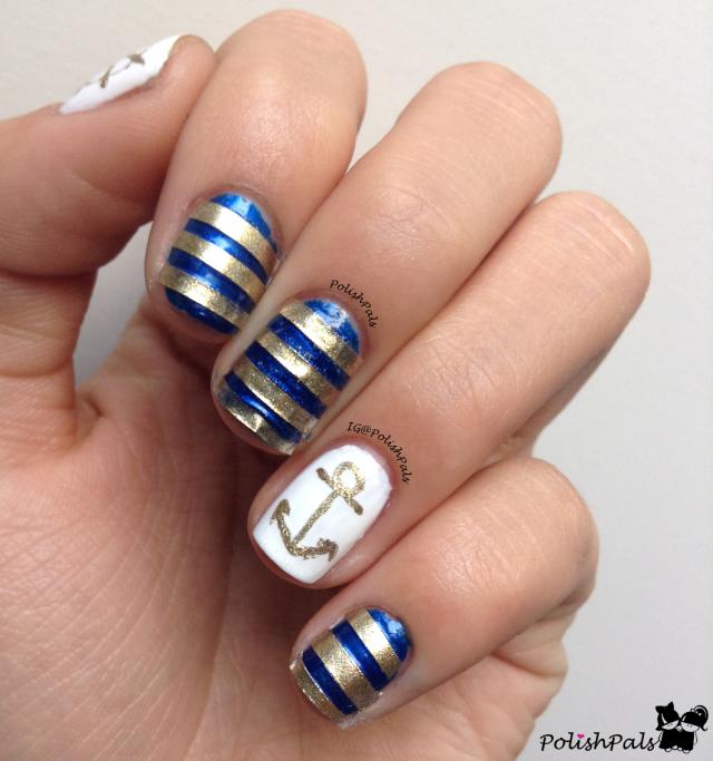 Striped Nautical Nail Art