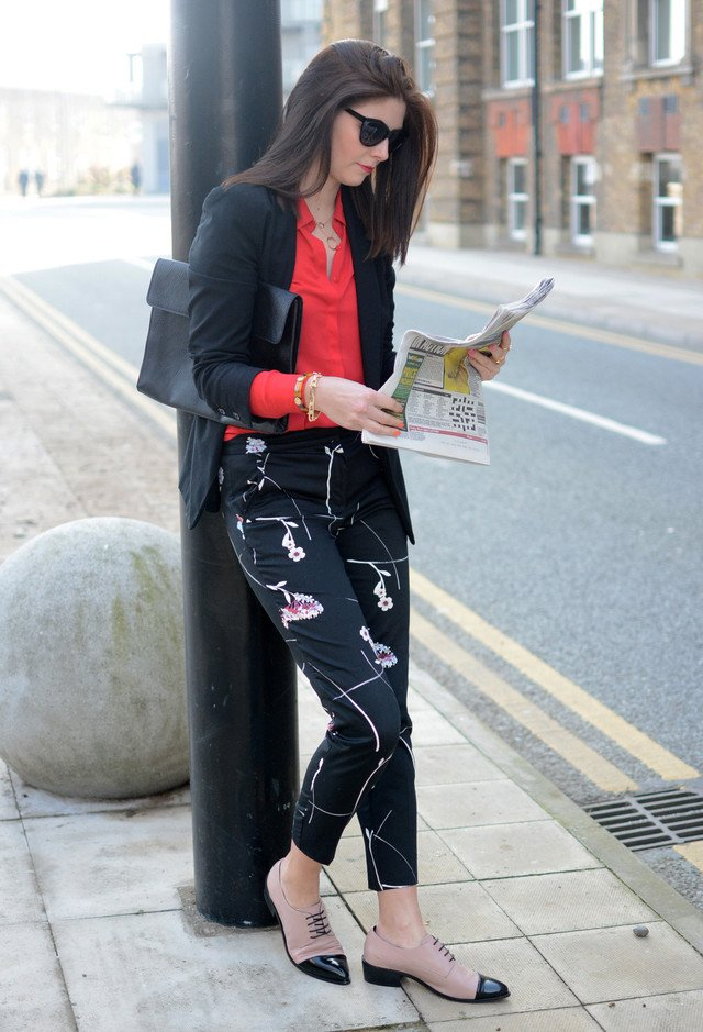 Stylish Black Office Look with Floral Printed Pants