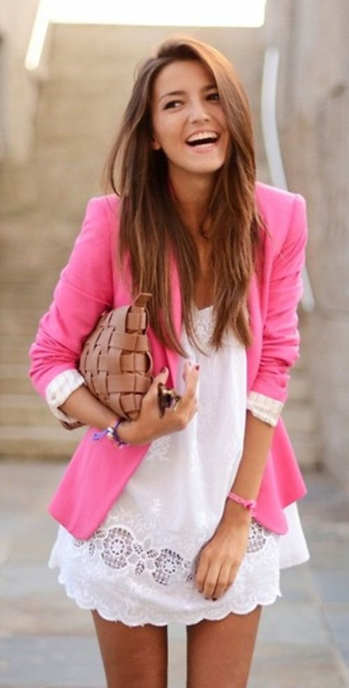 Sweet Outfit Idea with White Dress and Pink Blazer