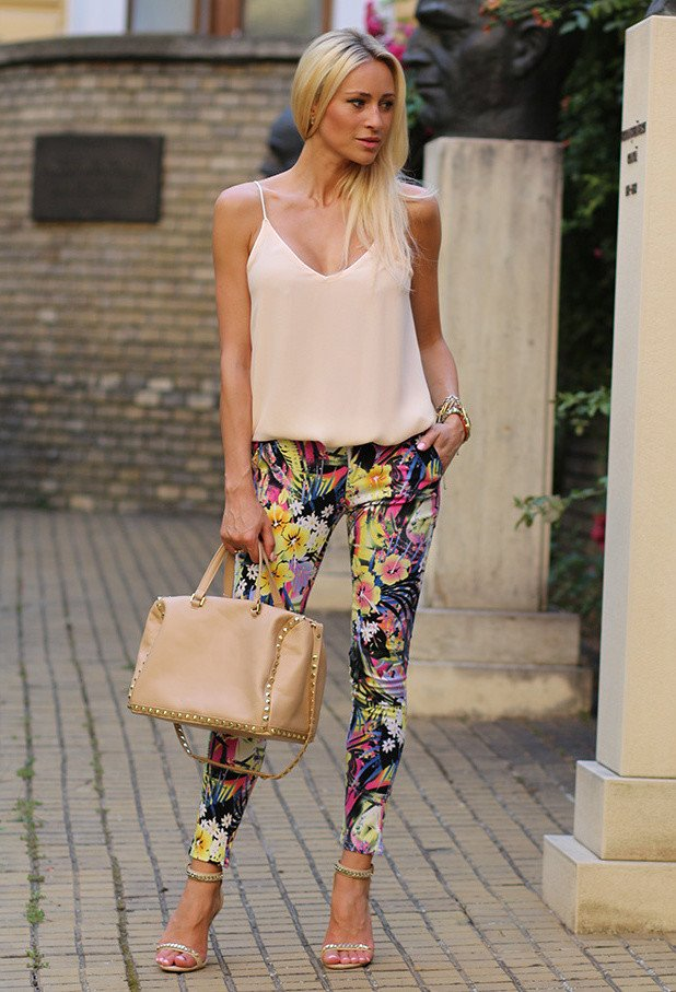 Tank Top with Floral Printed Pants Outfit