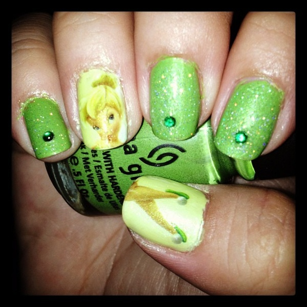 Tinkerbell Nails: 14 Lovely Nail Designs For Your Kids' Birthday Party
