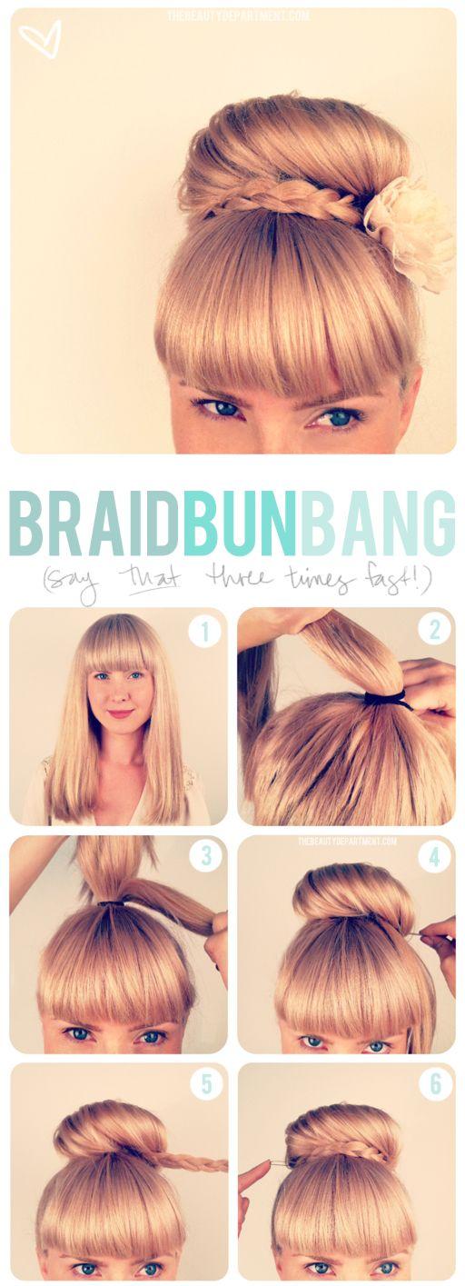 Top Bun with Blunt Bangs