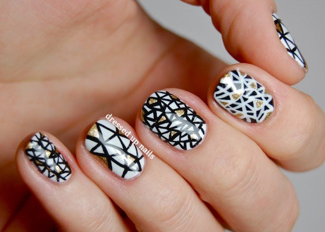 Black and white nails for beginners pretty designs triangle nails prinsesfo Images