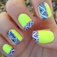Tribal Neon Nail Design