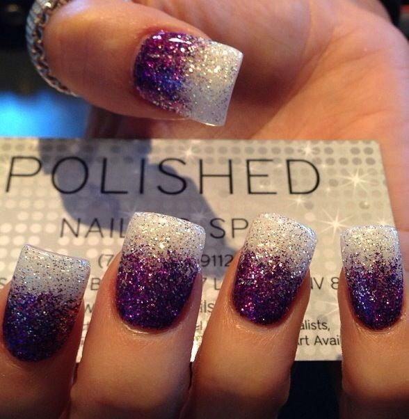Two Toned Glitter Nails - Latest Glitter Nail Designs - Pretty Designs