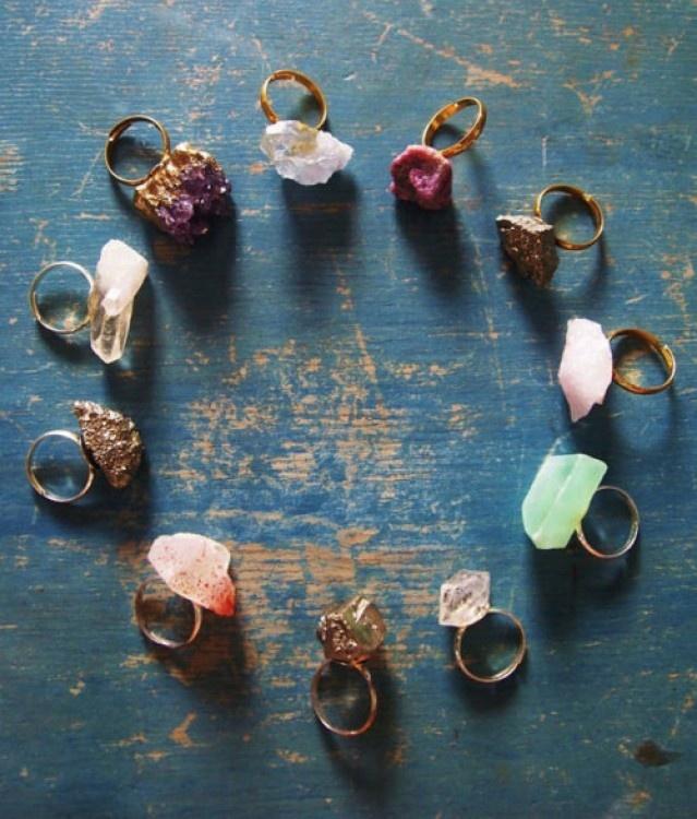 Uncut Stone Rings