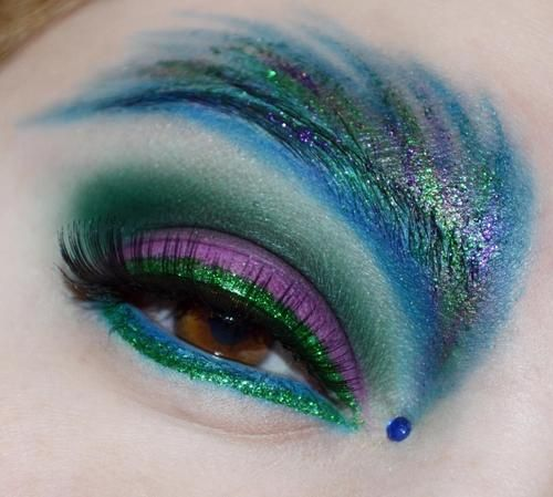 Vibrant Peacock Inspired Eye Makeup Look