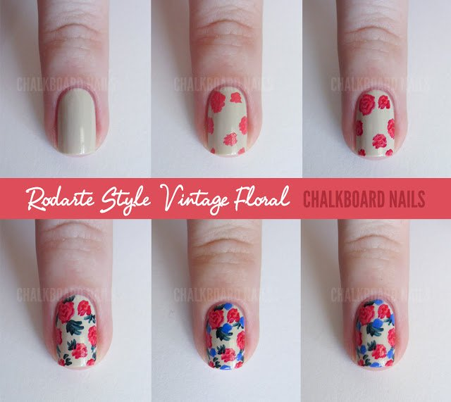 12 wonderful nail art tutorials for all ages pretty designs vintage floral prinsesfo Gallery
