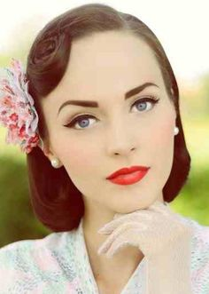 Vintage Makeup Look With Red Lips
