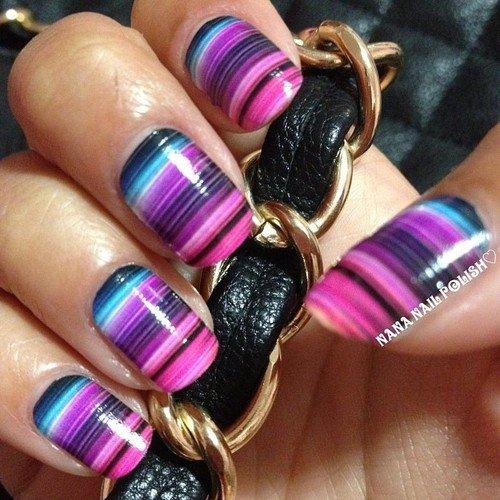 Water Marble Striped Nail Art - 17 Fabulous Striped Nail Art Ideas - Pretty Designs