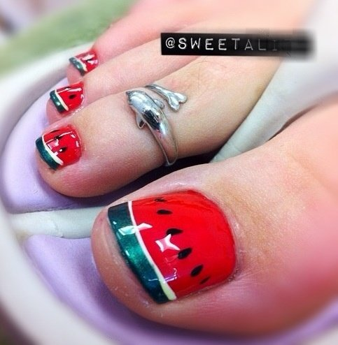 Water melon nails