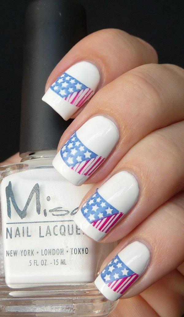 White American Flag Inspired Nail Design