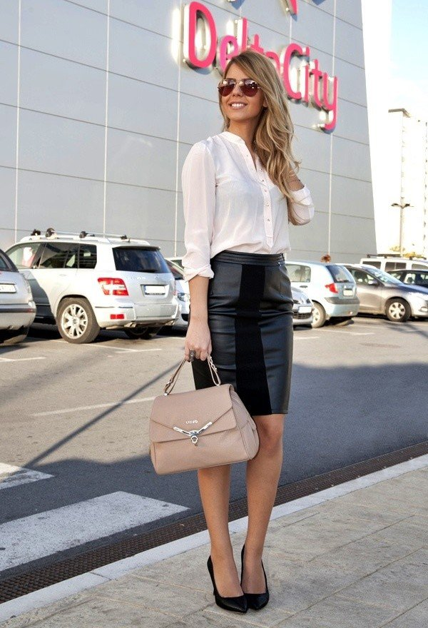 White Blouse and Black Leather Skirt