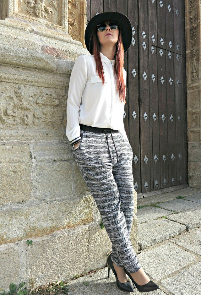 White Blouse and Stripe Baggy Pants