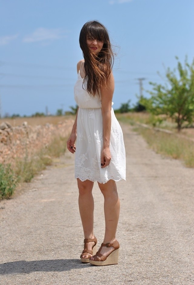 White Dress and Brown Wedges