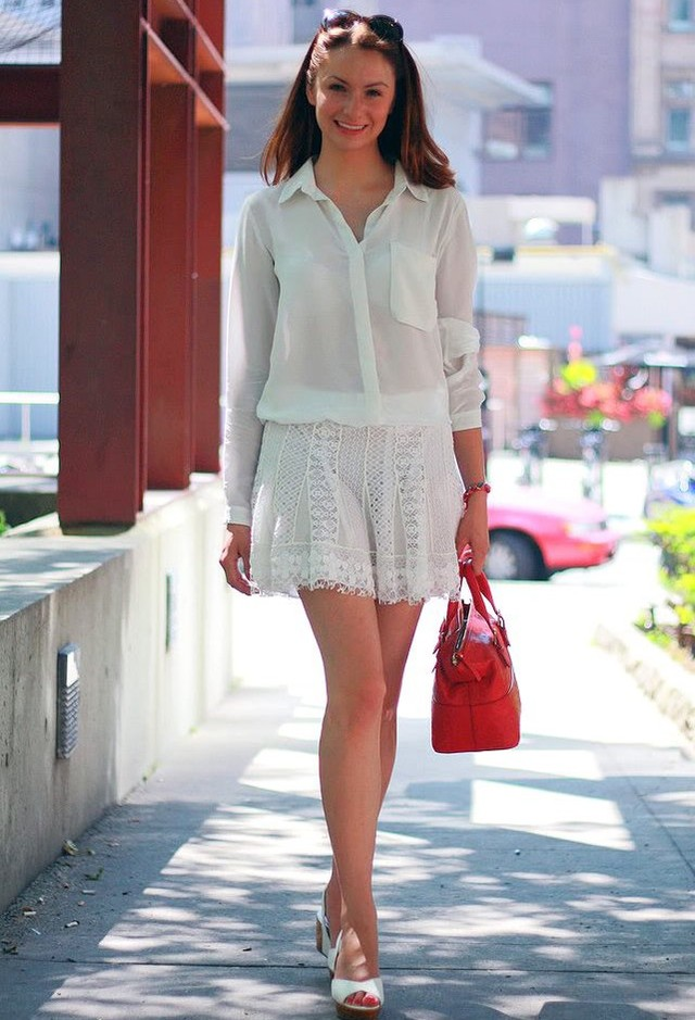 White Lace Skirt Outfit with White Blouse