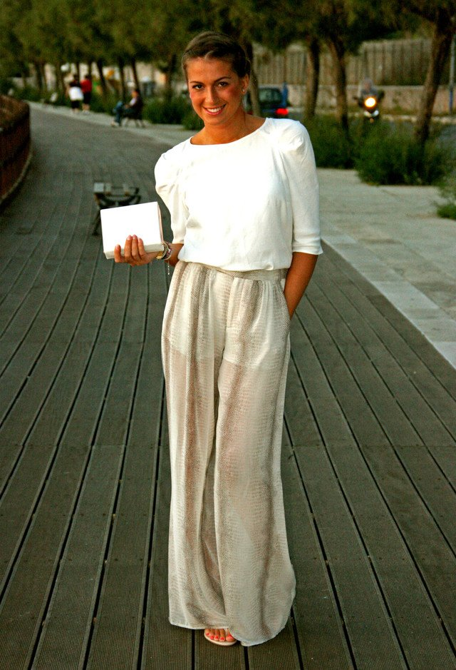 White Outfit Idea with High Waisted Pants
