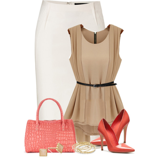 White Pencil Skirt with Red High Heels