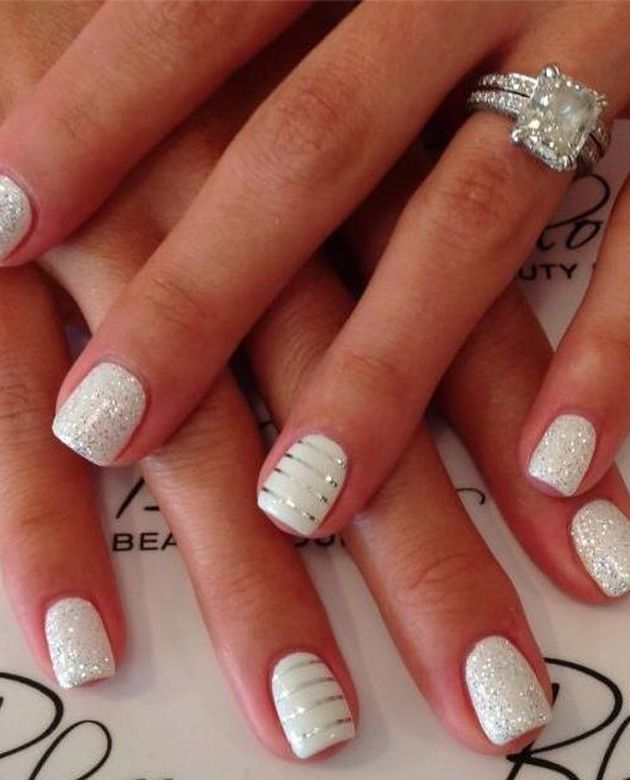 White Wedding Nail Design