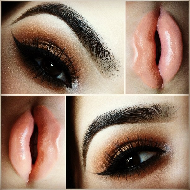 Winged Smokey Eye Makeup With Peach Lips