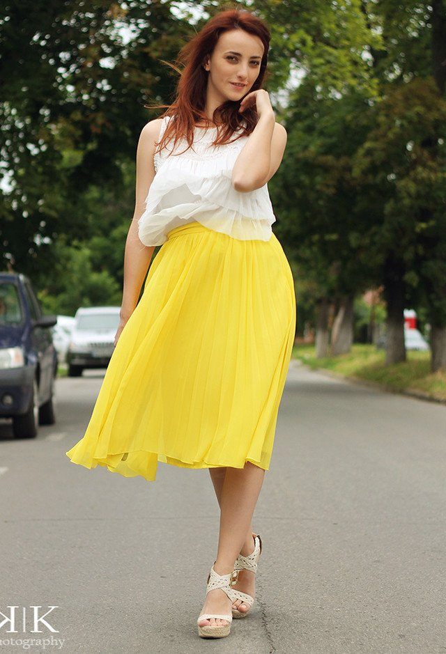 Yellow Skirt Outfit Idea with Wedges