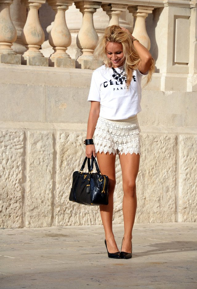 All White Outfit with Crochet Shorts